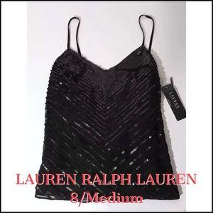Lauren Ralph Lauren Black Sequined Top NWT $175!
